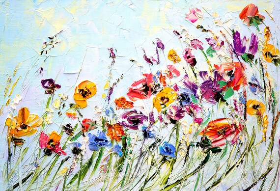 Oil painting flowers palette knife painting on canvas abstract