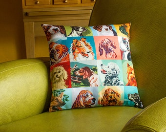 Paint by Number Dogs Throw Pillow Cover - vintage paint by number dogs - 2-sided printing - 3 sizes