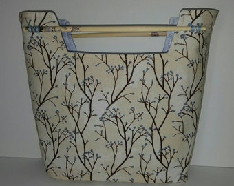 Small Purse Clutch Chopsticks Ivory Flowers Winter Tree