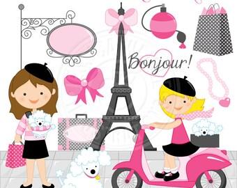 Bonjour From Paris Cute Digital Clipart