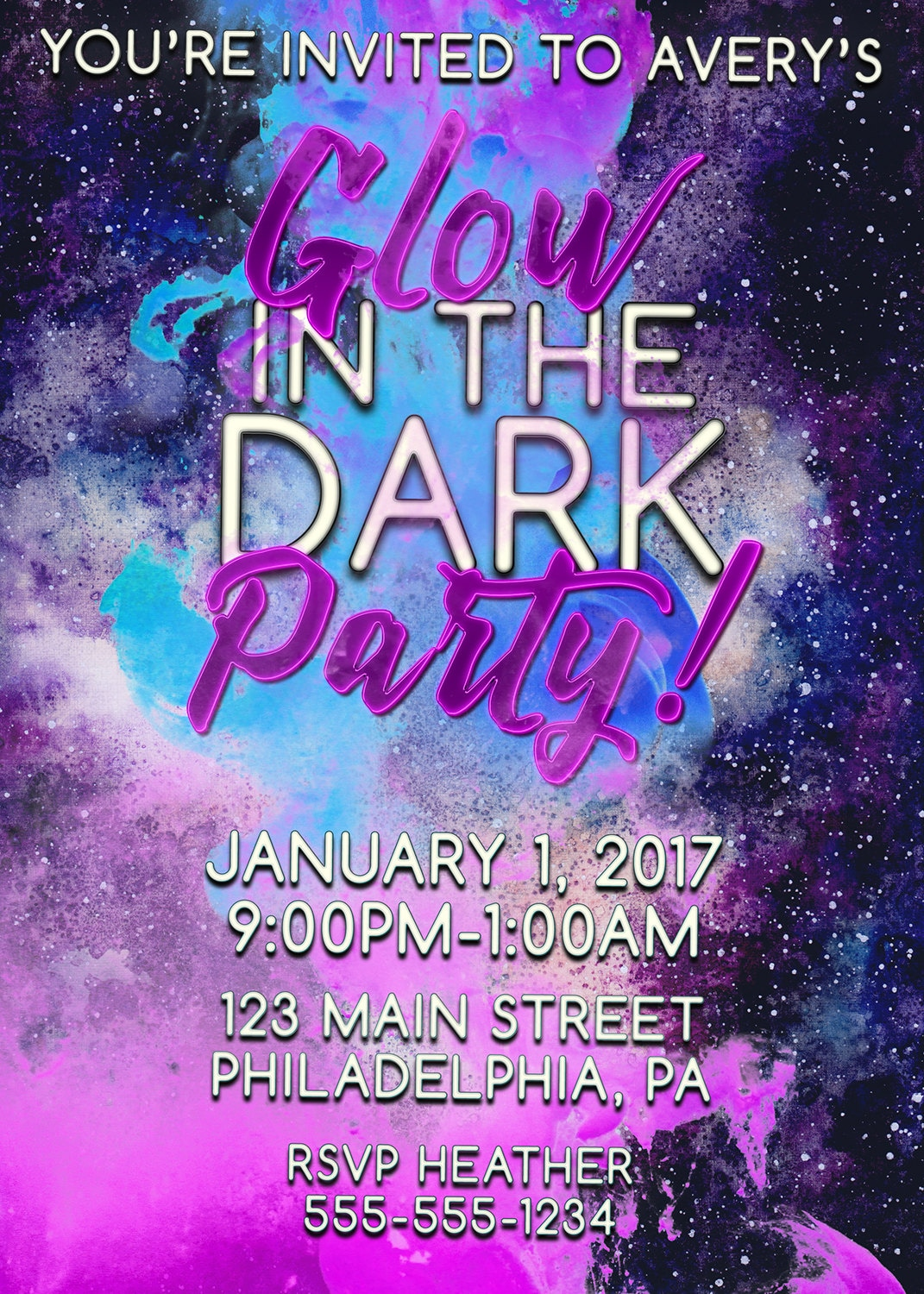 Glow in the Dark Party Invitations, Glow in the Dark Invitations ...