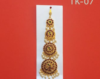 Traditional Kemp temple jewelry single maang tikka for Bharatnatyam, Kuchipudi, Parties, Engagement, Weddings, Birthdays etc.