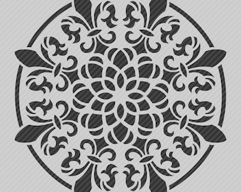 Reusable Wall Stencil Fleur-De-Lis Floral Medallion Pattern.  SKU: S0114