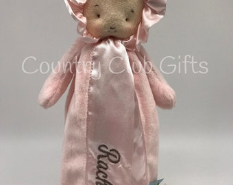 Personalized baby doll | Baby blanket | Embroidered bunny | Baby shower gift | Super soft | Satin | Bunny | Puppy | Fox | Lamb | Baby Doll