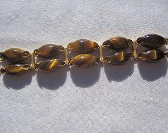 Tiger Eye and Leaf Bracelet