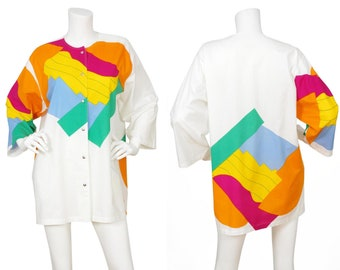 Marimekko c. 1981 Finland Vintage Suomi-Finland Abstract Cotton Snap Up Tunic Top