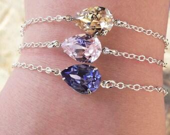 Swarovski Bracelet Silver - Crystal Bracelet Swarovski Jewelry - Bridal Jewelry - Bridesmaid Bracelet - Bridesmaid Jewelry - Bridal Bracelet