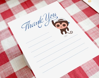 Littel Monkey Thank You Card - Note Card
