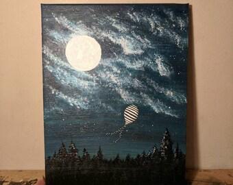 Hot Air Balloon, Abstract Acrylic Painting,Canvas Wall Art, Modern Art, A4 - Looking Lost