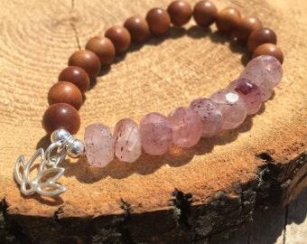 Strawberry Quartz- Sandalwood,Sterling silver 925 Lotus charm, Fragrant sandalwood bracelet, boho jewelry, boho chic