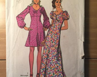 Vintage 1973 Simplicity Dress Pattern #9446 Size 12 Bust 34 - NC - Vintage Simplicity / 70s Simplicity /Puff Sleeve Dress Pattern