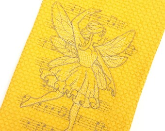 Yellow hand towel, fairy decorative kitchen towel, gold fairy hand towels, yellow kitchen towels, gold hand towels, yellow kitchen decor