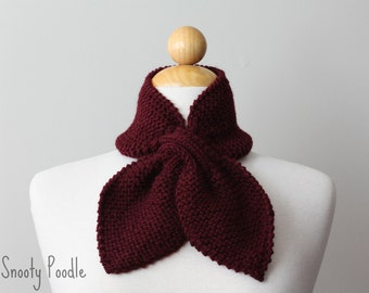 Neck Warmer Scarflette Knitted Burgundy Red Bow