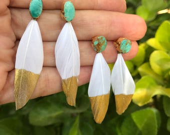 Turquoise stud earrings with gold dipped feathers
