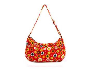 Red Floral, Cotton, Hobo, Slouch Bag,  Adjustable Straps- Emma