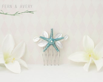 Starfish hair comb. Silver and turquoise starfish hair piece. Beach wedding, bridal, formal, comb, clip.