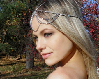 Wedding Headpiece, Goddess Headpiece, Chain Gold Headpiece Bridal BOHO Bohemian Headpiece Hippie Hair jewelry Silver