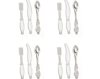 Miniature Dollhouse Kitchen Silverware Set of 4 Place Settings Knife Fork Spoon 1:12 Scale Kitchen Food Diorama Shadow Box Accessory - 393