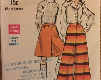"VTG 7274 Vogue (1960's). Misses' pantskirts in 2 versions.  Waist 24"", Hip 34-1/2"".  Complete, unused, neatly cut.  Excellent condition."