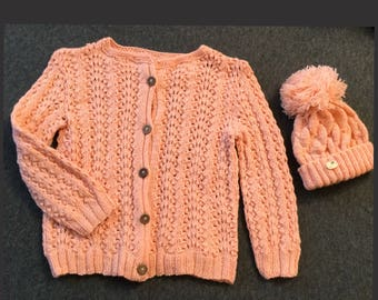 Girls cardigan & hat. Handmade knitted. Baby wool. Salmon pink colour. Long sleeves collarless design. Pompom. Christmas grift. 2-3 years