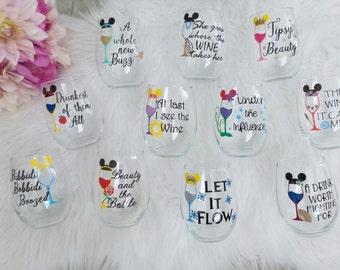 Disney Inspired Princess Wine Glass, Bachlorette Party,Disney Inspired Bridesmaid Gifts,Disney Inspired Wedding,Friend Gift
