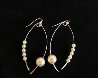 Long Earrings, Swarovski Pearl and Sliver, Wedding Earrings, Pearl earrings