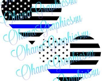 American Flag Heart Shaped Police Blue Line SVG
