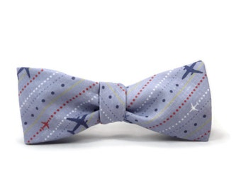 Airplane bowtie, air plane bow tie, plane bowtie, airplane stripes, pilot tie, pilot bowtie, aircraft bowtie, mens bowtie, air plane gift