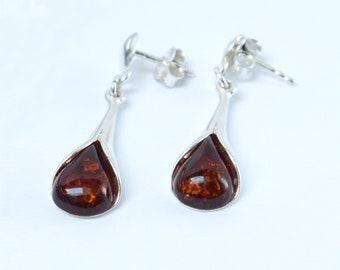 Cognac amber dangle stud earrings, Silver Amber earrings, natural amber jewelry, calla lily shape silver amber earrings, stud earrings