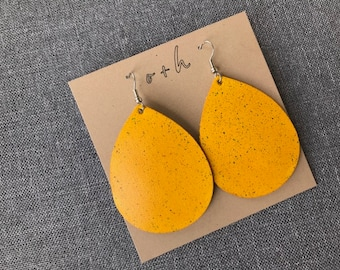 Yellow with green speckles, leather teardrop earrings