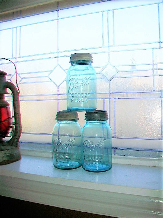 3 Vintage Blue Ball Perfect Mason Jars Quart 1923 to 1933