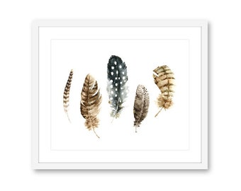 Feathers Print - Feather Wall Art - Boho decor - Modern Feather Art -  Watercolor feather Print - 10x8 - frame not included - Aldari Art