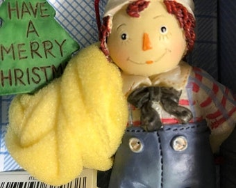 SUMMERSALE Vintage Raggedy Andy Kurt Adler Christmas Ornament Hand Painted Resin