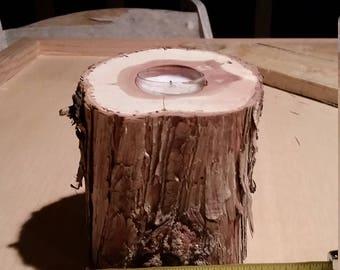 Rustic handmade tea candle holder