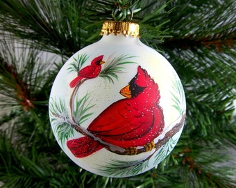 Cardinal Ornament, Hand-Painted, Red Cardinals, Two Cardinals on Snowy Branch, Winter Birds, Snow and Pine, Free Inscription
