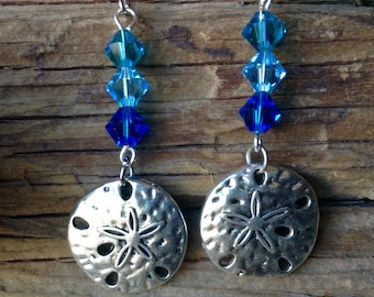 Silver Sandollar Charms with Blue Crystal Earrings