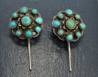 Victorian Solid SILVER & Turquoise Cluster AUSTRO-HUNGARIAN Drop Hook Earrings