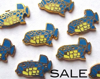Tiny Vintage Enamel Yellow and Blue Fish Cabochons  (16X) (E528) SALE - 50% off
