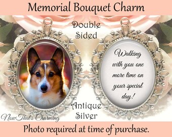 SALE! Double-Sided Pet Memorial Bouquet Charm - Personalized with Photo - Walking with you one more time- Cyber Monday