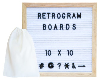 White Felt- Oak Frame Retro Letter Board 10 x 10 inch with 300  Black Helvetica  interchange letters and FREE letter bag