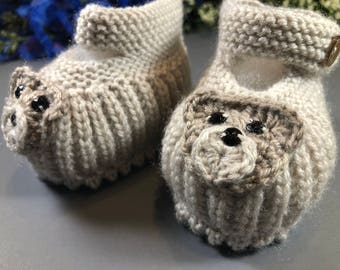 Bear Face Knit Booties For Baby Boys and Girls