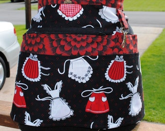 Handmade Vendor Apron Zipper Vendor Apron Black Red White Apron Farmers Market Teacher Craft Server Gardener Cash Pockets Blue Green