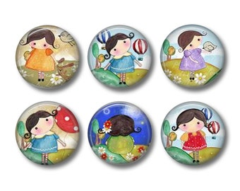 Matilda pinback button badges or fridge magnets, fridge magnet set