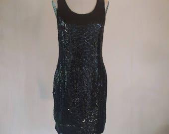 Shiny Black Sequin Tank Wiggle Dress Glam Together