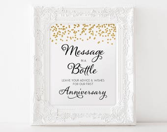 Printable Guest Book Wedding sign Message in a Bottle 8x10 Gold Confetti Guestbook Sign DIY Wedding Anniversary INSTANT DOWNLOAD 300dpi