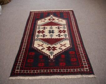 4.2 x 2.7 ft Vintage Rug 127 x 81 cm, Boho Style, tribal turkish carpet dark blue, red, beige wool