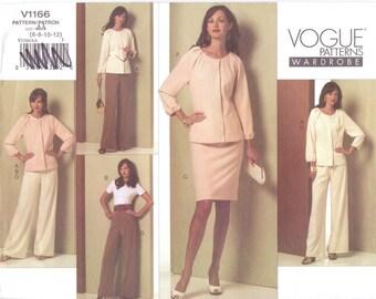 Womens Raglan Sleeve Jacket, Top, Skirt & Pants OOP Vogue Sewing Pattern V1166 Size 6 8 10 12 Bust 30 1/2 to 34 UnCut Vogue Wardrobe