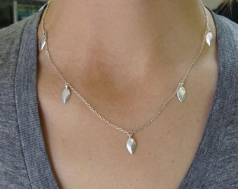 5 Succulent Leaves Necklace -- Botanical Jewelry -- Nature Cast -- Ready to Ship
