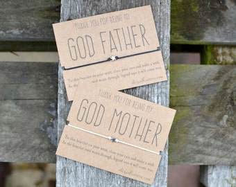 God Parent Wish Bracelet, Wish Bracelet for God Mother or God Father, Thank You Gift, Make a Wish Bracelet and Gift Card.