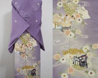 Second hand kimono, Japanese vintage formal kimono, iro-tomesode, silk, purple, chrysanthemum, Goshoguruma